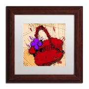 "Trademark Roderick Stevens ""Flower Purse Purple on Red"" Art, White Matte W/Wood Frame, 11"" x 11"""