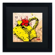"Trademark Roderick Stevens ""Flower Purse Red on Yellow"" Art, Black Matte W/Black Frame, 16"" x 16"""