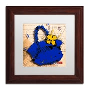 "Trademark Roderick Stevens ""Flower Purse Yellow on Blue"" Art, White Matte W/Wood Frame, 11"" x 11"""