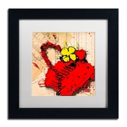 "Trademark Roderick Stevens ""Flower Purse Yellow on Red"" Art, White Matte W/Black Frame, 11"" x 11"""