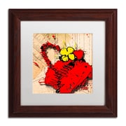 "Trademark Roderick Stevens ""Flower Purse Yellow on Red"" Art, White Matte W/Wood Frame, 11"" x 11"""