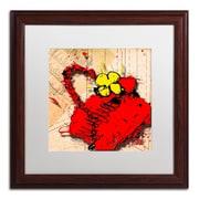 "Trademark Roderick Stevens ""Flower Purse Yellow on Red"" Art, White Matte W/Wood Frame, 16"" x 16"""