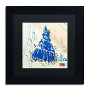 "Trademark Roderick Stevens ""Shoulder Dress Blue n White"" Art, Black Matte W/Black Frame, 11"" x 11"""