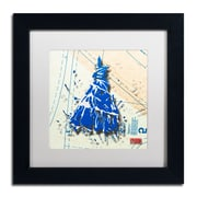"Trademark Roderick Stevens ""Shoulder Dress Blue n White"" Art, White Matte W/Black Frame, 11"" x 11"""
