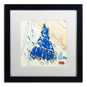 "Trademark Roderick Stevens ""Shoulder Dress Blue n White"" Art, White Matte W/Black Frame, 16"" x 16"""