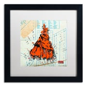 "Trademark Roderick Stevens ""Shoulder Dress Orange n Black"" Art, White Matte W/Black Frame, 16"" x 16"""