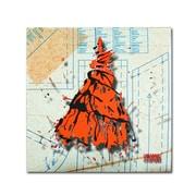 Trademark Roderick Stevens Shoulder Dress Orange n Black Gallery-Wrapped Canvas Art, 14 x 14