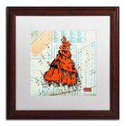 "Trademark Roderick Stevens ""Shoulder Dress Orange n Black"" Art, White Matte W/Wood Frame, 16"" x 16"""