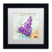 "Trademark Roderick Stevens ""Shoulder Dress Purple n White"" Art, White Matte W/Black Frame, 11"" x 11"""