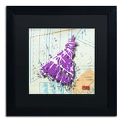 "Trademark Roderick Stevens ""Shoulder Dress Purple n White"" Art, Black Matte W/Black Frame, 16"" x 16"""