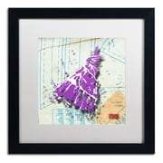 "Trademark Roderick Stevens ""Shoulder Dress Purple n White"" Art, White Matte W/Black Frame, 16"" x 16"""