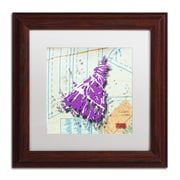 "Trademark Roderick Stevens ""Shoulder Dress Purple n White"" Art, White Matte W/Wood Frame, 11"" x 11"""