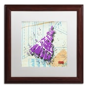 "Trademark Roderick Stevens ""Shoulder Dress Purple n White"" Art, White Matte W/Wood Frame, 16"" x 16"""