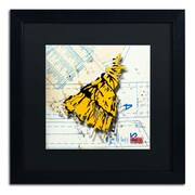 "Trademark Roderick Stevens ""Shoulder Dress Yellow n Black"" Art, Black Matte W/Black Frame, 16"" x 16"""