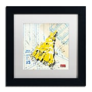 "Trademark Roderick Stevens ""Shoulder Dress Yellow n White"" Art, White Matte W/Black Frame, 11"" x 11"""