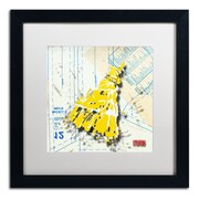 "Trademark Roderick Stevens ""Shoulder Dress Yellow n White"" Art, White Matte W/Black Frame, 16"" x 16"""