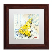"Trademark Roderick Stevens ""Shoulder Dress Yellow n White"" Art, White Matte W/Wood Frame, 11"" x 11"""