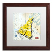 "Trademark Roderick Stevens ""Shoulder Dress Yellow n White"" Art, White Matte W/Wood Frame, 16"" x 16"""