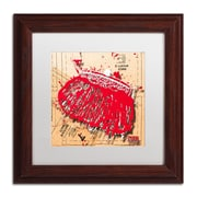 "Trademark Roderick Stevens ""Snap Purse Red"" Art, White Matte With Wood Frame, 11"" x 11"""