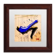 "Trademark Roderick Stevens ""Suede Heel Blue"" Art, White Matte With Wood Frame, 11"" x 11"""