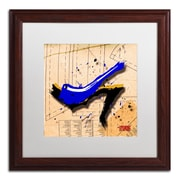 "Trademark Roderick Stevens ""Suede Heel Blue"" Art, White Matte With Wood Frame, 16"" x 16"""