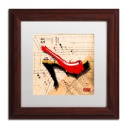 "Trademark Roderick Stevens ""Suede Heel Red"" Art, White Matte With Wood Frame, 11"" x 11"""