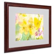 "Trademark Sheila Golden ""Yellow Trio"" Art, White Matte With Wood Frame, 16"" x 20"""
