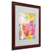 "Trademark Sheila Golden ""Sonoma Garden"" Art, White Matte With Wood Frame, 16"" x 20"""
