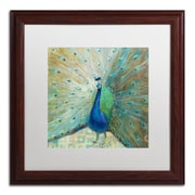 "Trademark Danhui Nai ""Blue Peacock on Gold"" Art, White Matte W/Wood Frame, 16"" x 16"""