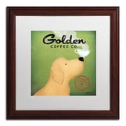 "Trademark Ryan Fowler ""Golden Coffee Co"" Art, White Matte With Wood Frame, 16"" x 16"""