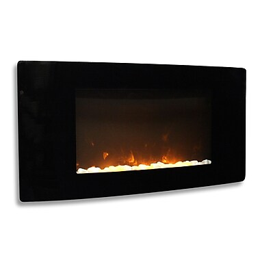 Paramount Barcelona Curved Tempered Glass Wall Mount Electric Fireplace