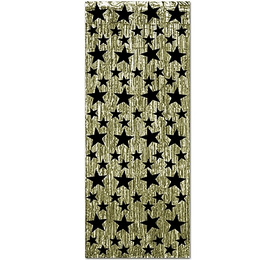 1-Ply Gleam 'N Curtain, 8' x 3', Gold With Printed Black Stars