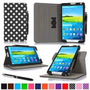 "rOOCASE Leather Dual-View Folio Smart Case Cover for 8.4"" Samsung Galaxy Tab S, Polkadot Black"