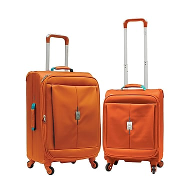 Delsey Extreme Lite 2.0 2-Piece Expandable Spinner Trolley Luggage Set, Orange