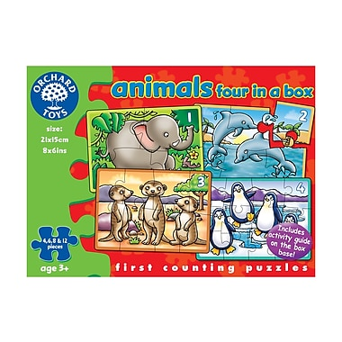 Orchard Toys Animals 4/Box Puzzles, Multilingual