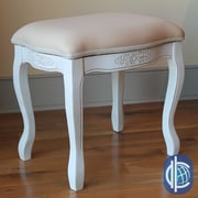 International Caravan Windsor Hand Carved Antique White Vanity Stool