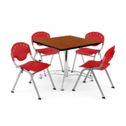 "OFM PKG-BRK-05-0002 36"" Square Wood Multi-Purpose Table with 4 Chairs, Cherry Table/Red Chair"