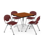 "OFM PKG-BRK-05-0003 36"" Square Wood Multi-Purpose Table with 4 Chairs, Cherry Table/Burgundy Chair"
