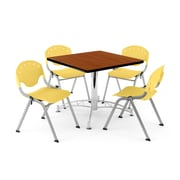"OFM PKG-BRK-07-0004 42"" Square Multi-Purpose Table with 4 Chairs, Cherry Table/Lemon Yellow Chair"