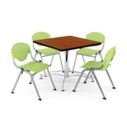 "OFM PKG-BRK-05-0006 36"" Square Wood Multi-Purpose Table with 4 Chairs, Cherry Table/Lime Green Chair"