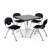 "OFM PKG-BRK-07-0007 42"" Square Multi-Purpose Table with 4 Chairs, Gray Nebula Table/Black Chair"