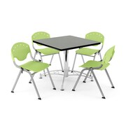 "OFM PKG-BRK-07-0012 42"" Square Multi-Purpose Table with 4 Chairs, Gray Nebula Table/Lime Green Chair"