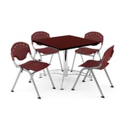 "OFM PKG-BRK-05-0015 36"" Square Wood Multi-Purpose Table with 4 Chairs, Mahogany Table/Burgundy Chair"