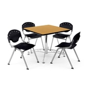 "OFM PKG-BRK-05-0019 36"" Square Wood Multi-Purpose Table with 4 Chairs, Oak Table/Black Chair"