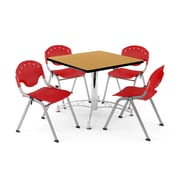 "OFM PKG-BRK-05-0020 36"" Square Wood Multi-Purpose Table with 4 Chairs, Oak Table/Red Chair"