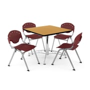 "OFM PKG-BRK-05-0021 36"" Square Wood Multi-Purpose Table with 4 Chairs, Oak Table/Burgundy Chair"