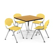 "OFM PKG-BRK-05-0022 36"" Square Wood Multi-Purpose Table with 4 Chairs, Oak Table/Lemon Yellow Chair"