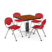 "OFM PKG-BRK-022-0002 36"" Square Laminate Multi-Purpose Table with 4 Chairs, Cherry Table/Red Chair"