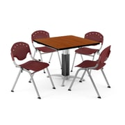 "OFM PKG-BRK-022-0003 36"" Square Laminate Multi-Purpose Table with 4 Chairs, Cherry Table/Burgundy Chair"