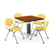 "OFM PKG-BRK-022-0004 36"" Square Laminate Multi-Purpose Table with 4 Chairs, Cherry Table/Lemon Yellow Chair"